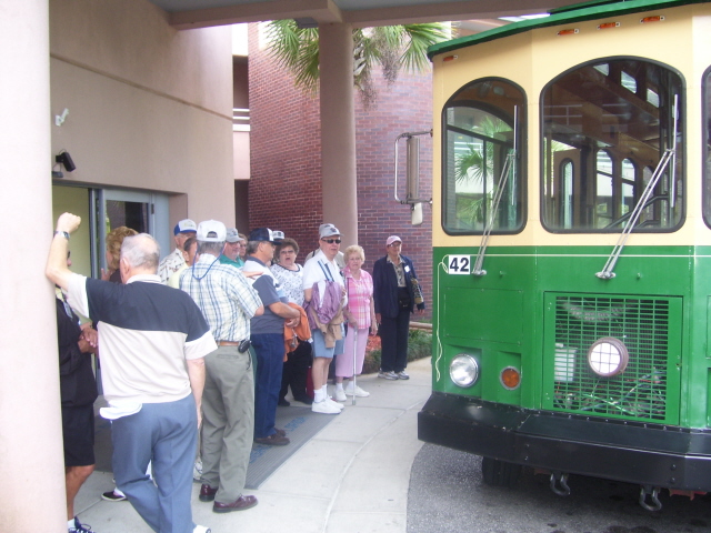 Boarding the trolley at the Navy Lodge
