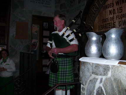 Bagpiper playing Anchors Aweigh at McGuire's