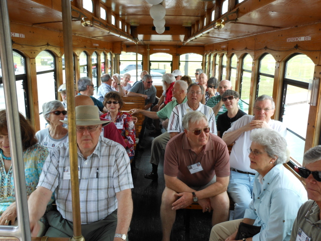 Back on the trolley going to the flightline at Whiting Field