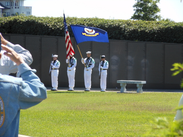 Naval Air Station Pensacola Color Guard performing at the memorial service