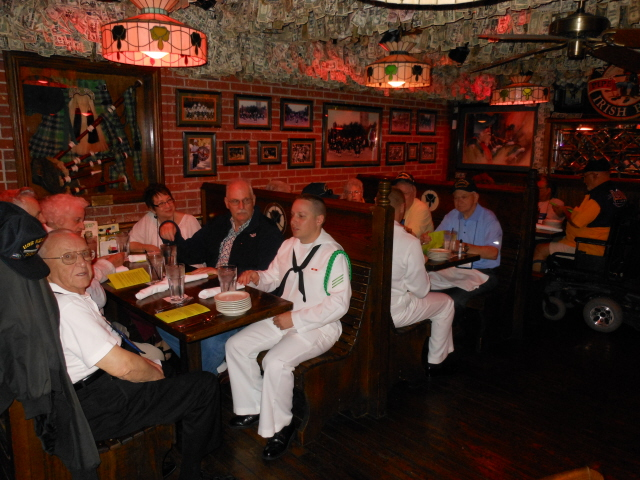 The NAS Pensacola color guard joins the USS Kearsarge for lunch at McGuire's Irish Pub