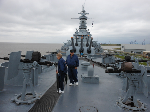 On the deck of the USS Alabama