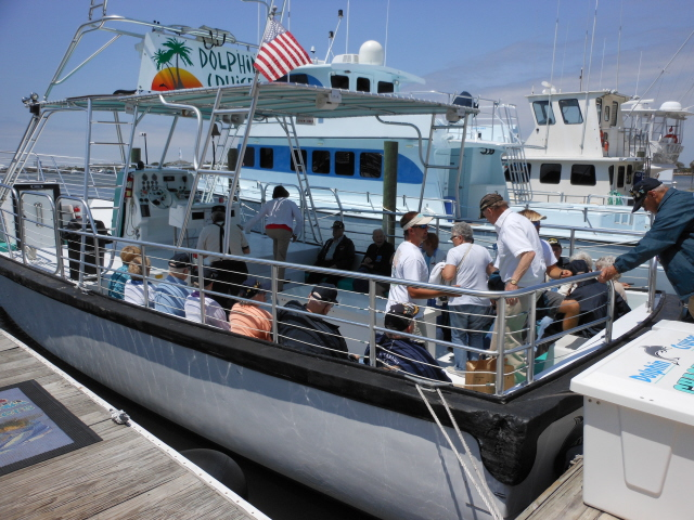 Boarding the Chase N Fins for the dolphin cruise