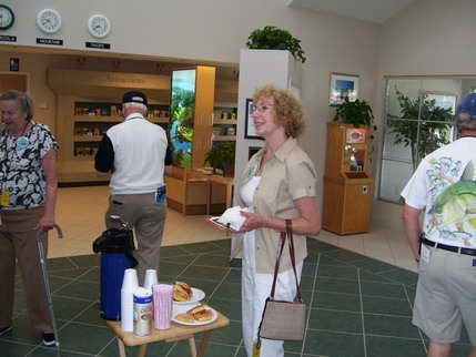 Coffe and Danish served at the Pensacola Visitor's Center